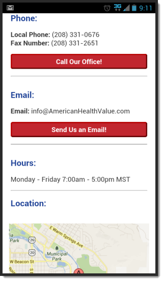 American Health Value Mobile Website Contact Us