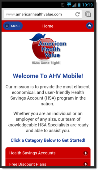 American Health Value Mobile Website Home